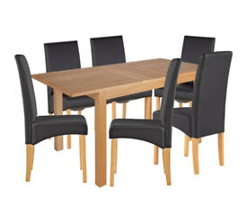 Clifton Extendable Table & 6 Chairs - Black / Charcoal