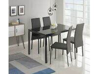 Lido Glass Dining Table & 4 Black Chairs