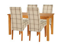 Fully assembled Lincoln Solid Wood Table & 4 Skirted Chairs - Checked