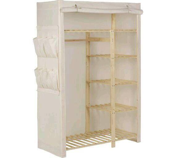 Cream wooden double canvas wardrobes x 2
