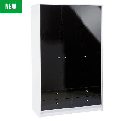 HOME Malibu 3 Door 4 Drawer Wardrobe - Black Gloss & White