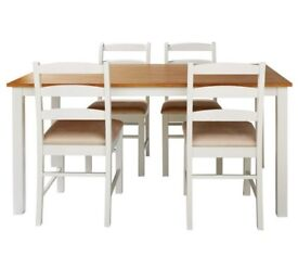 Collection Hamstead Oak Veneer Table & 4 Chairs - Two Tone