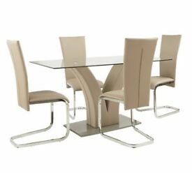 Ex display Oriana Glass Table & 4 Cantilever Chairs - Beige