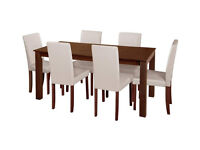 Fully assembled Ashdon Solid Wood Table & 6 Mid Back Chairs - Cream