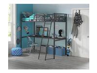 Kids Metal Highsleeper Bed Frame With Desk - Black