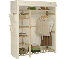 Argos Home Polycotton and Pine Triple Wardrobe - Cream