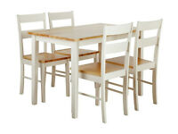 Chicago Solid Wood Table and 4 chairs - Two Tone