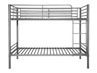 Ex display Silver metal SHORTY size bunk bed frame, Less 1/2 shop price. Delivery available.