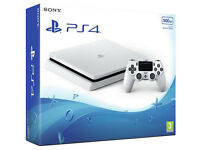 PS4 Slim White With 2 Controllers, 3 Games AS NEW £250