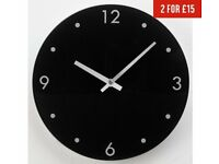 HOME Round Glass Wall Clock - Black, As New