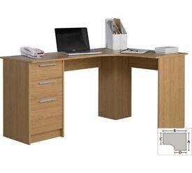 HOME Large 3 Drawer Corner Desk - Oak Effect (CORNER DAMAGE)