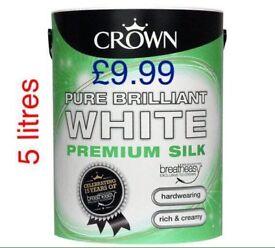 Crown white silk and Matt 5 ltr paint
