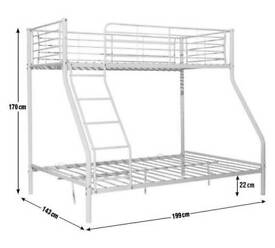 TRIPLE BUNK BED - DOUBLE Bottom + SINGLE Top
