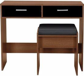 Ex display New Sywell Dressing Table, Stool - Walnut & Black Gloss