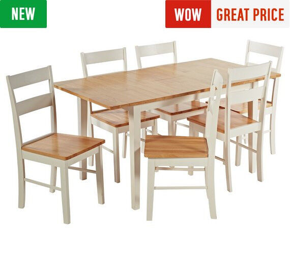 Chicago Ext Solid Wood Dining Table 6 Chairs