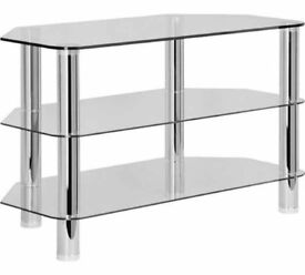Glass tv stand - chrome legs - small