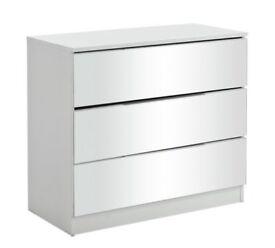 Sandon 3 Drawer Chest - White and Mirrored