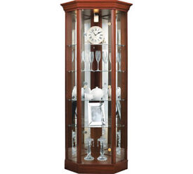 already built up 1 Glass Door Corner Display Cabinet - Mahogany Effect