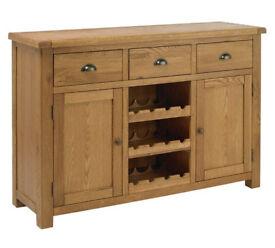 Heart of House Kent 2 Dr 3 Drw Oak Veneer Sideboard & Rack