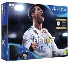 PS4 SLIM 500GB WITH FIFA 18, GRAN TURISMO, AND OTHER GAMES, LIKE NEW