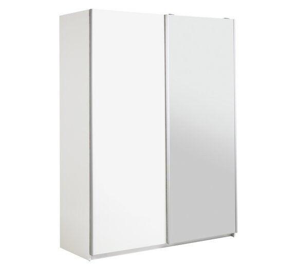 Hygena Bergen 2 Door Medium Mirrored Wardrobe - White Gloss