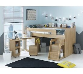 Ultimate Storage Midsleeper Bed with Desk and Drawers