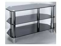TV DVD GAMES STAND BLACK GLASS