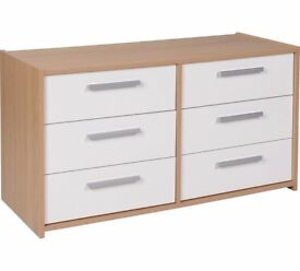Ex display Sywell 3+3 Drawer Chest - Oak Effect & White Gloss