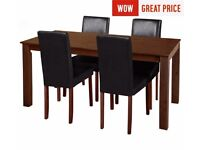 Ex Display Ashdon Solid Wood Table & 4 Mid Back Chairs - Black