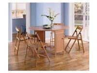 Butterfly Extendable oval table & 4 chairs - Oak colour