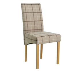 Collection Pair of Fabric Skirted Chairs - Mink Check