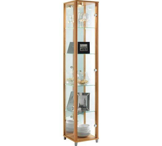 Single Door Glass Display Cabinet - Beech Effect