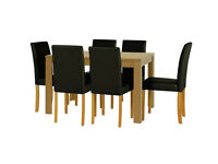 HOME Penley Oak Veneer Ext Dining Table & 6 Chairs - Black