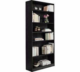HOME Maine 5 Shelf Tall Wide Extra Deep Bookcase - Black Ash 783.