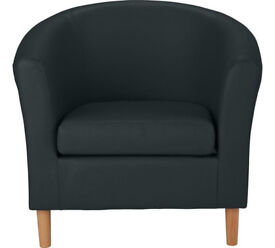 Leather Effect Tub Chair - Black