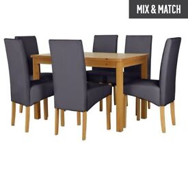 Ex display Ashdon Solid Wood Table & 6 Skirted Chairs - Charcoal