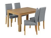 Ex display Penley Extending Oak Veneer Table & 4 Chairs - Grey