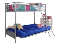 AS NEW METAL BUNK BED WITH FUTON SEAT CONVERTS TO A DOUBLE MATTRESS