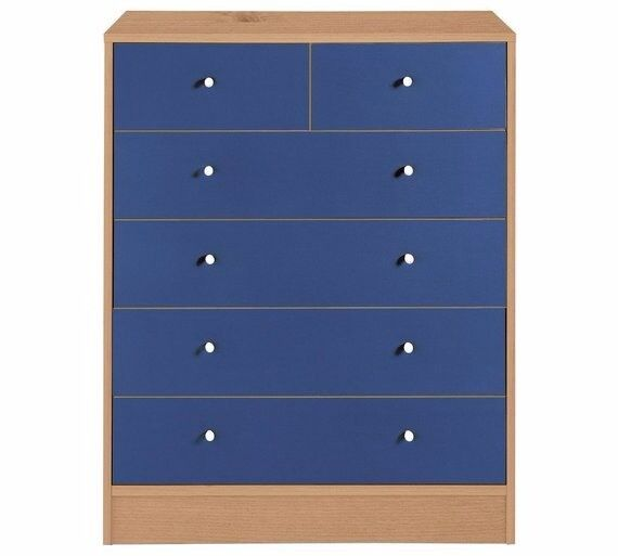 Ex display Malibu 4+2 Drawer Chest - Blue on Pine