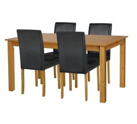 Ashdon Solid Wood Table & 4 Mid Back Chairs - Black
