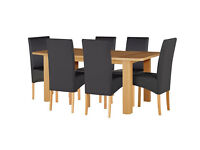 HOME Stonebury Table and 6 Skirted Chairs - Oak Stain Black
