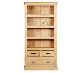 HOME San Diego 3 Shelf 3 Drawer Solid Pine Bookcase