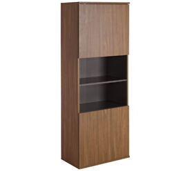 Hygena Modular 2 Door Tall Wall Cabinet - Walnut Graphite