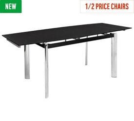 Hygena Erik Extendable Glass 8 Seater Dining Table - Black