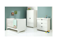 Fully assembled Mamas & Papas Rocco 3 Piece Furniture Set - White