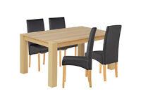 Heart of House Alston Oak Veneer Table & 4 Chairs - Black