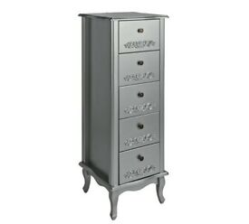 Sophia 5 Drawer Tallboy - Silver