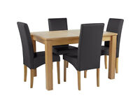 Collection Swanbourne Ext Oak Vnr Table & 4 Chairs - Black