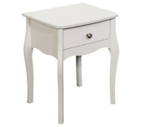 Baroque 1 Drawer Bedside Chest - White
