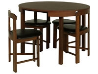 Fully assembled Alena Circular Solid Wood Table & 4 Chairs - Walnut